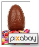 Photo of easter egg and Pixabay logo